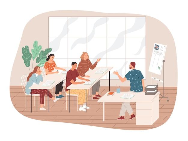 O professor se comunica com os alunos.