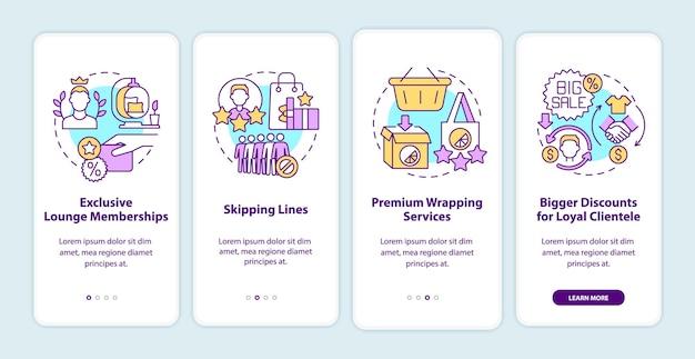O programa de fidelidade oferece vantagens na tela da página do aplicativo para dispositivos móveis. benefícios para clientes fiéis: instruções gráficas de 4 etapas com conceitos. modelo de vetor ui, ux e gui com ilustrações coloridas lineares