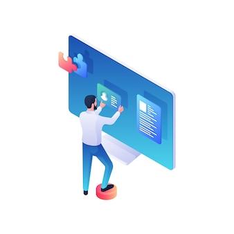 O programador está desenvolvendo ilustração isométrica de conta de usuário online. o personagem masculino faz a montagem da web anexando o currículo dos clientes e colocando o quebra-cabeça da descrição. conceito de interface social.