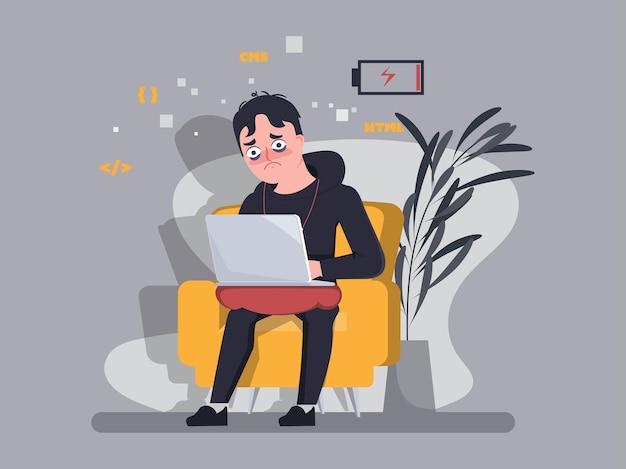 O programador trabalha duro e não descansa no assento. trabalho em casa