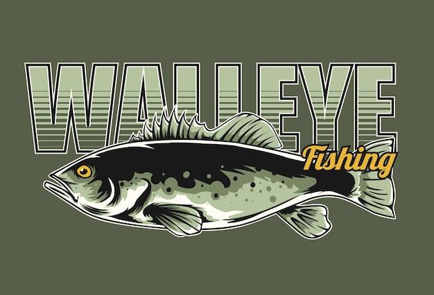 O projeto de pesca walleye pode ser usado para camisetas de logotipo e outros