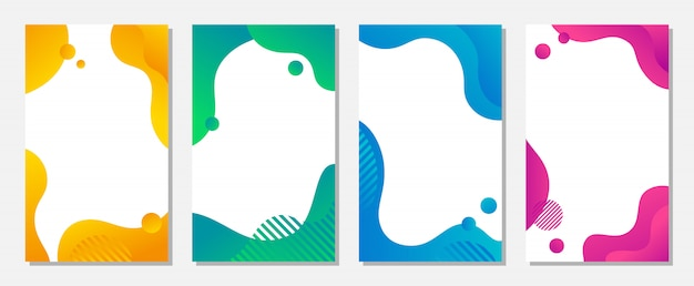 O projeto dinâmico da bandeira do estilo ajustou-se com formas líquidas coloridas fluidas.