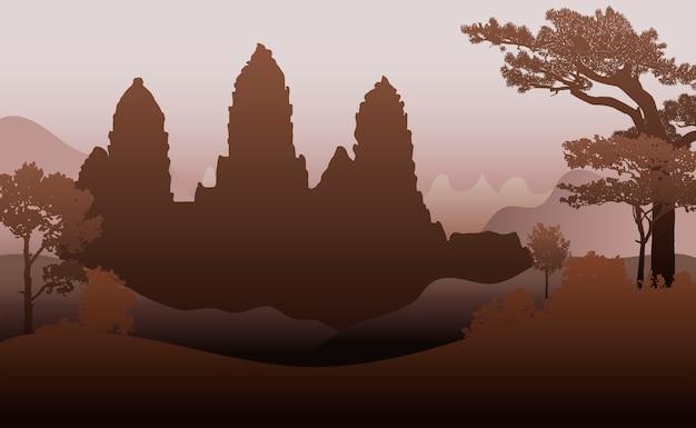 O projeto do vetor da silhueta do templo de angkor wat