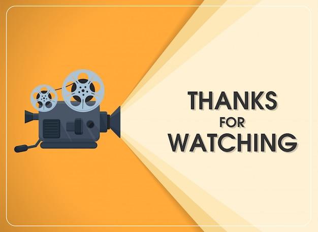 O projetor de filme retro do movimento com agradecimentos do texto para olhar.