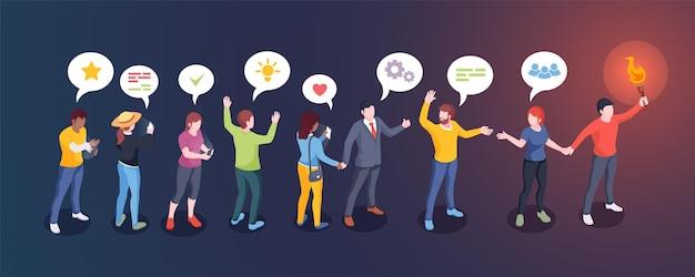 O público social influencia o formador de opinião e o homem influenciador do design criativo com o cabo da tocha