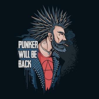 O punker fuma suas pontas de cabelo e veste uma jaqueta de rocker com pontas, ele retorna ao mundo para salvar a terra