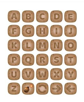 O quadrado abotoa o jogo de palavras de madeira do alfabeto do az.