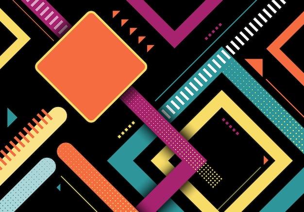 O quadrado geométrico colorido abstrato molda o projeto do teste padrão de listras em fundo preto. ilustração vetorial