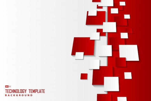 O quadrado vermelho e branco do inclinação abstrato modela o fundo da tecnologia.