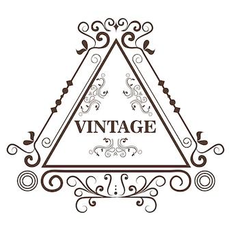O quadro e o vintage dados forma triângulo decorativos assinam sobre o fundo branco. ilustração vetorial.
