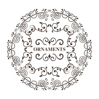 O quadro e os ornamento decorativos redondos assinam sobre o fundo branco. ilustração vetorial.