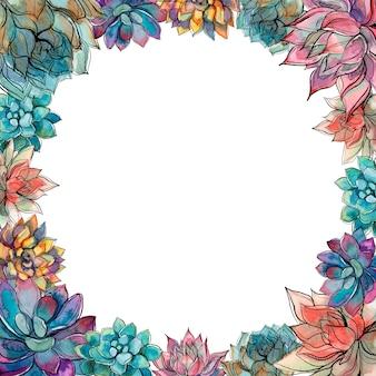 O quadro é redondo de flores de suculentas.