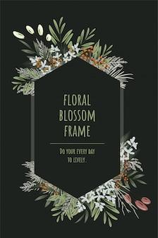 O quadro floral hexágono para cartões de convite e gráficos.