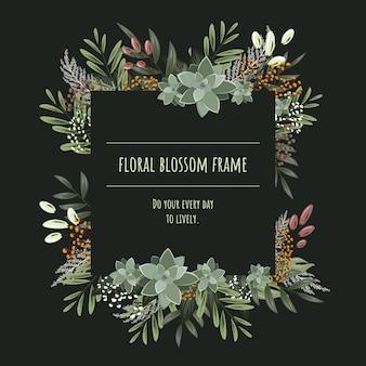 O quadro floral quadrado para cartões de convite e gráficos.