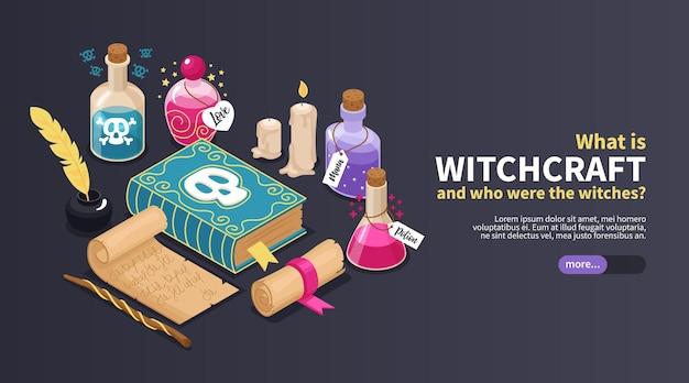 O que é um banner horizontal de bruxaria com manuscritos antigos e garrafas de vidro para poções mágicas