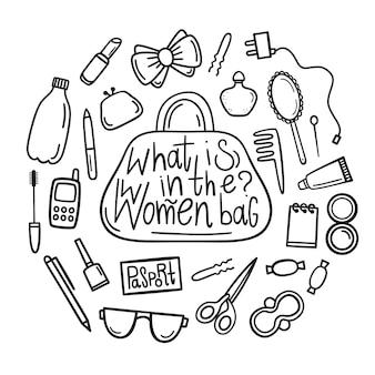 O que há na bolsa feminina? conjunto de elementos de maquiagem. coisas e acessórios femininos.