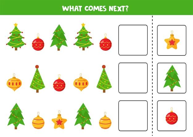 O que vem a seguir com árvores e bolas de natal jogo de lógica educacional para crianças