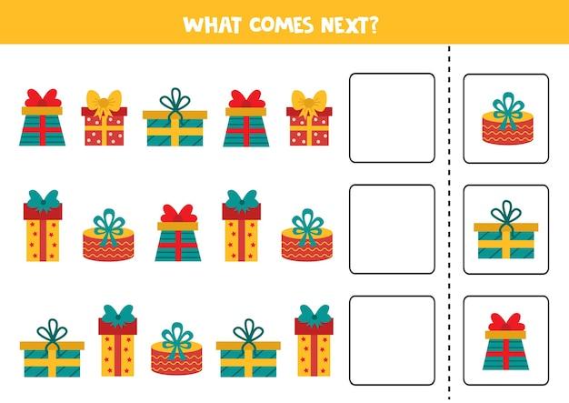O que vem a seguir com caixas de presente de desenho animado. folha de cálculo de natal. jogo lógico para crianças.