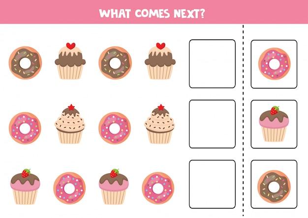 O que vem a seguir com donuts e muffins de desenhos animados.