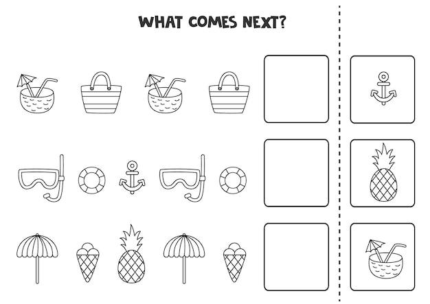 O que vem a seguir jogo com elementos de verão em preto e branco.