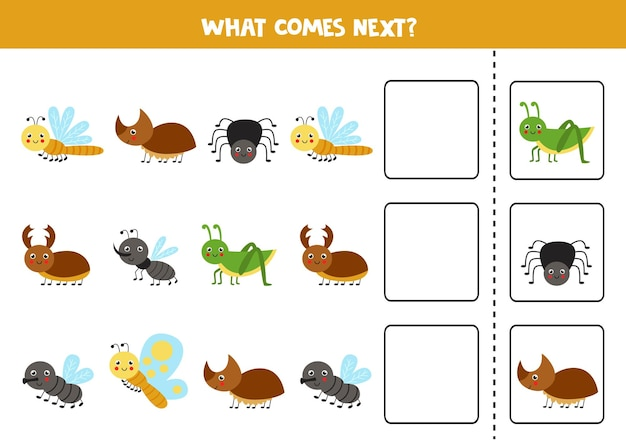 O que vem a seguir jogo com insetos bonitos jogo de lógica educacional para crianças