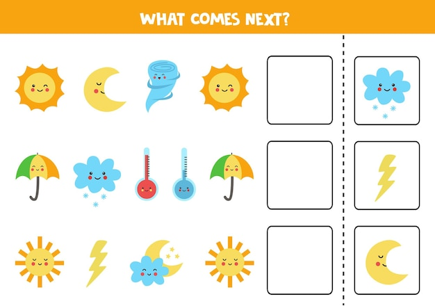 O que vem no próximo jogo com elementos de clima bonitos. jogo lógico educativo para crianças.