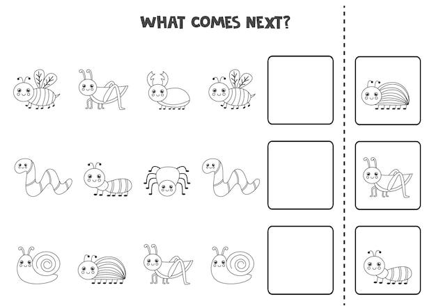 O que vem no próximo jogo com insetos bonitos em preto e branco. jogo lógico educativo para crianças.