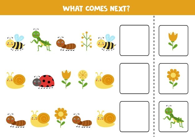 O que vem no próximo jogo com insetos bonitos. jogo lógico educativo para crianças.