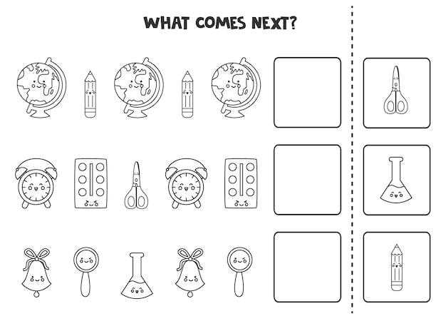 O que vem no próximo jogo com material escolar em preto e branco.