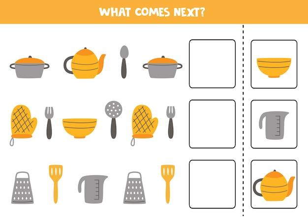 O que vem no próximo jogo com utensílios de cozinha. jogo lógico educativo para crianças.
