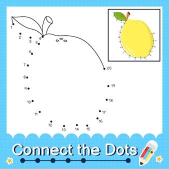 O quebra-cabeça de limão para crianças conecta a planilha de pontos para crianças contando os números de 1 a 20