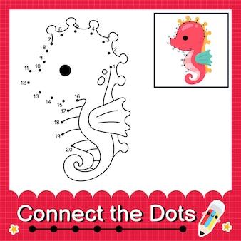 O quebra-cabeça do cavalo marinho conecta a planilha de pontos para crianças contando os números 1 a 20