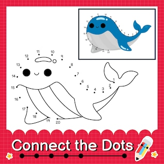 O quebra-cabeça infantil da baleia azul conecta a planilha de pontos para crianças contando os números de 1 a 20