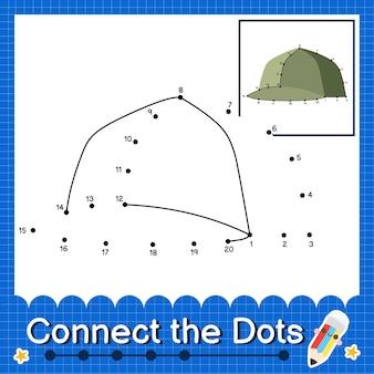 O quebra-cabeça infantil da tampa conecta a planilha de pontos para crianças contando os números 1 a 20