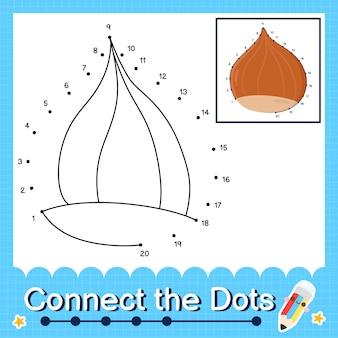 O quebra-cabeça infantil de avelã conecta a planilha de pontos para crianças contando os números de 1 a 20