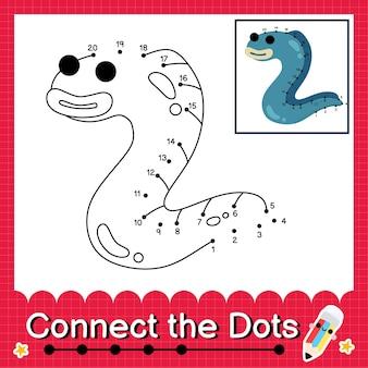 O quebra-cabeça infantil enguia conecte a planilha de pontos para crianças contando os números de 1 a 20