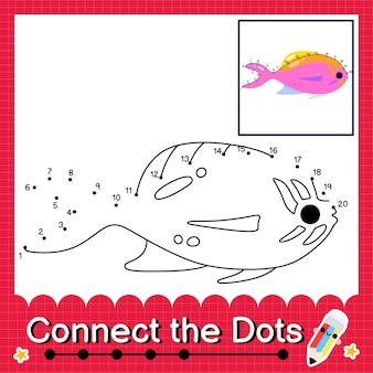 O quebra-cabeça infantil flame anthias conecta a planilha de pontos para crianças contando os números de 1 a 20