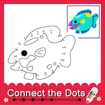 O quebra-cabeça infantil parrotfish conecta a planilha de pontos para crianças contando os números de 1 a 20