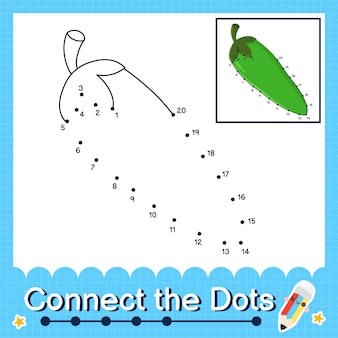 O quebra-cabeça infantil pepper conecta a planilha de pontos para crianças contando os números de 1 a 20