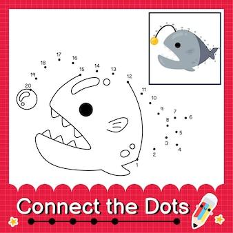 O quebra-cabeça infantil viperfish conecta a planilha de pontos para crianças contando os números de 1 a 20