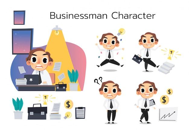 O rapaz de escritório conjunto de caracteres vector