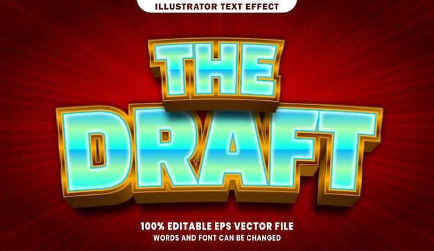 O rascunho do efeito de estilo de texto editável em 3d
