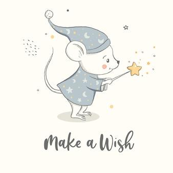 O ratinho com uma varinha mágica faz um pedido. impressão de bebê, pôster de berçário, design infantil.