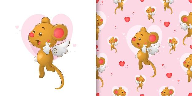 O rato fofo com as asinhas dando ao sinal de amor o padrão uniforme de ilustração
