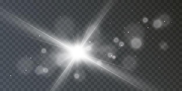 O reflexo do efeito de luz da lente dos raios estelares do brilho do vetor