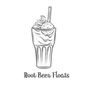 O refrigerante flutua no ícone de contorno. desenhada bebida de sobremesa americana.