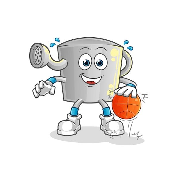 O regador pode driblar o personagem de basquete. mascote dos desenhos animados