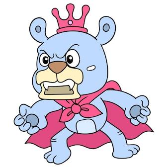 O rei dos ursos é coroado com ouro luxuoso em raiva, arte de ilustração. imagem de ícone do doodle kawaii.