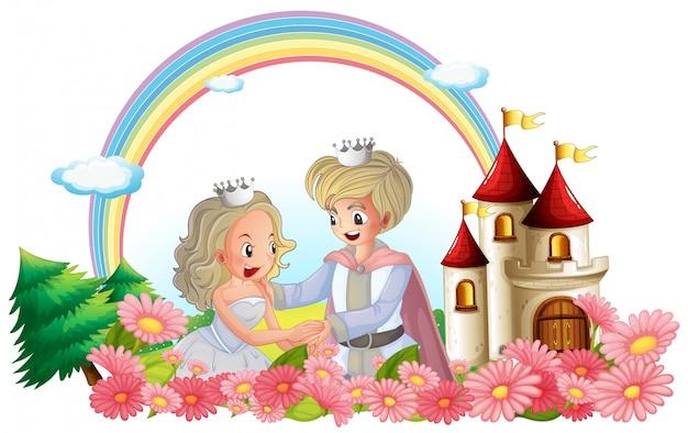 O rei e a rainha na frente de seu castelo