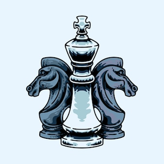 O rei e os cavaleiros isolados no azul